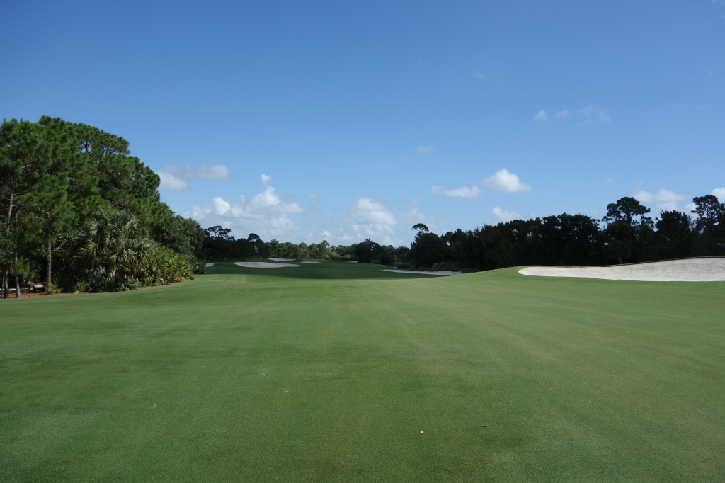 5th hole, par 5 with well placed bunkers